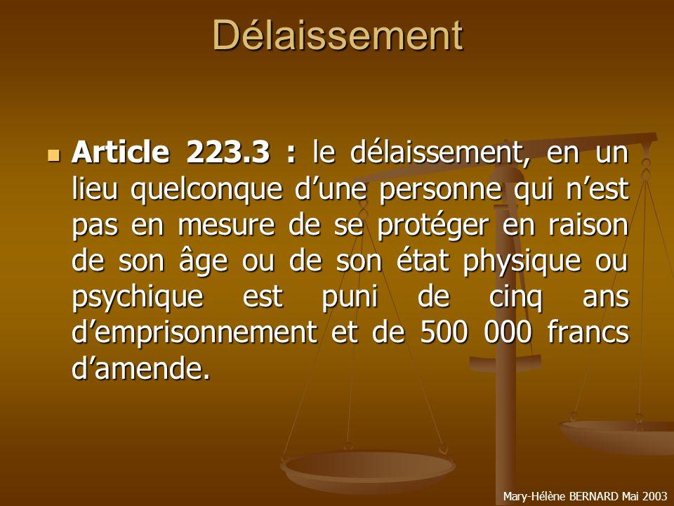 Mary-Hélène BERNARD Mai 2003Stupéfiants Article 222.37 : le transport, la détention, loffre, la cession, lacquisition ou lemploi illicites de stupéfiants sont punis de dix ans demprisonnement et de 50 000 francs damende.
