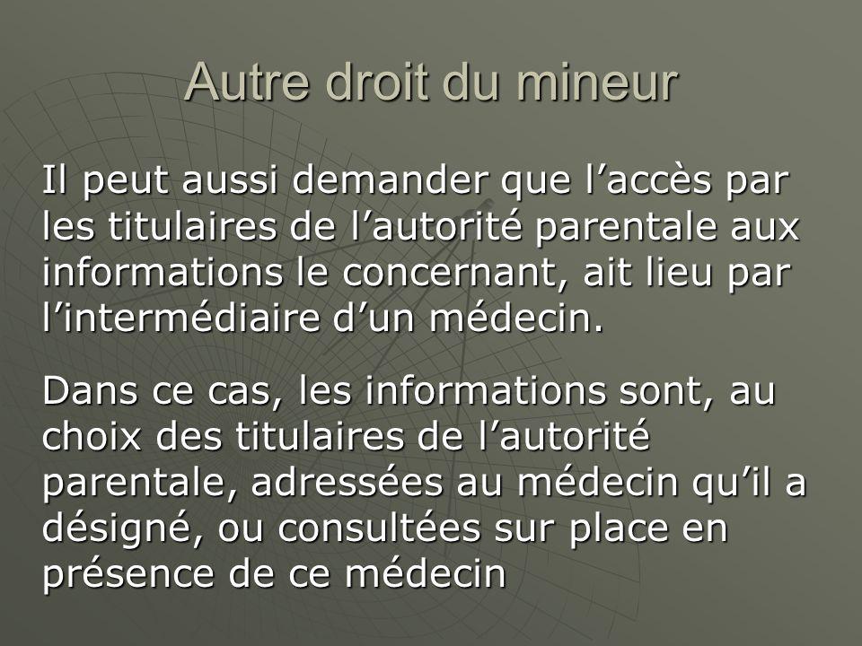 Autre droit du mineur Il peut aussi demander que laccès par les titulaires de lautorité parentale aux informations le concernant, ait lieu par linterm