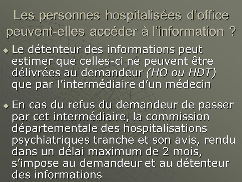 Les personnes hospitalisées doffice peuvent-elles accéder à linformation ? Le détenteur des informations peut estimer que celles-ci ne peuvent être dé
