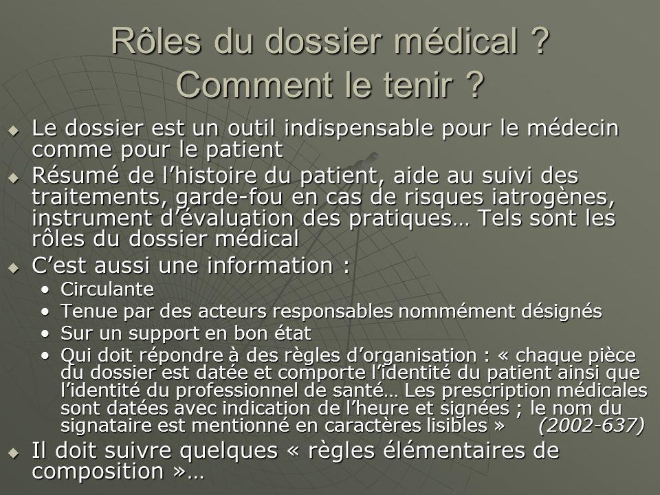 Rôles du dossier médical ? Comment le tenir ? Le dossier est un outil indispensable pour le médecin comme pour le patient Le dossier est un outil indi