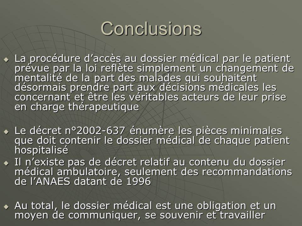 Conclusions La procédure daccès au dossier médical par le patient prévue par la loi reflète simplement un changement de mentalité de la part des malad