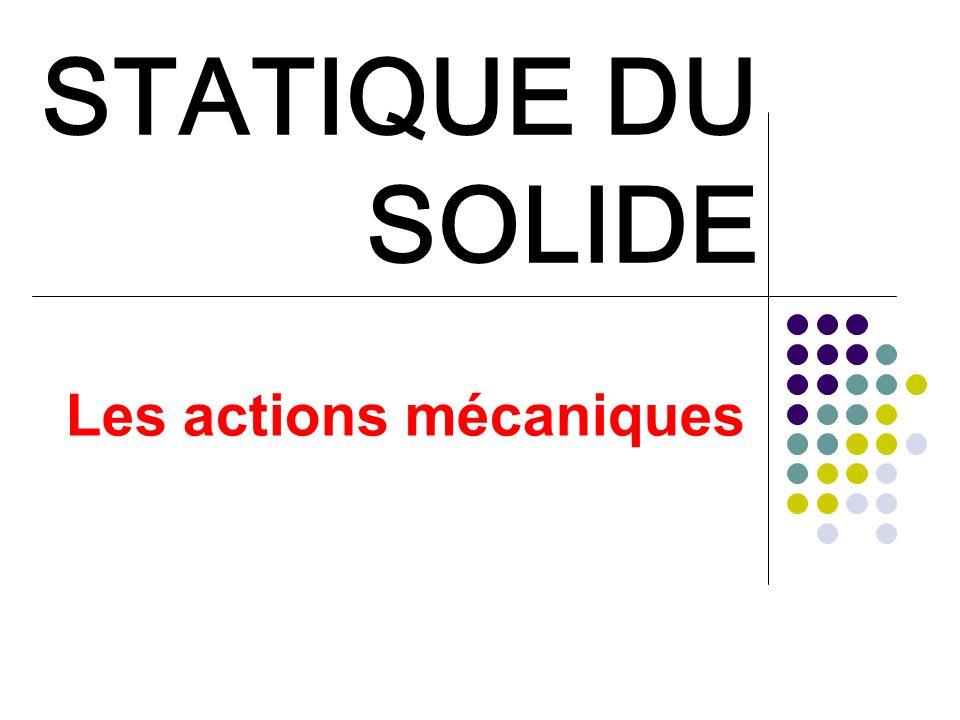 STATIQUE DU SOLIDE I - Introduction La statique étudie les actions mécaniques exercées sur des solides indéformables et en équilibre.