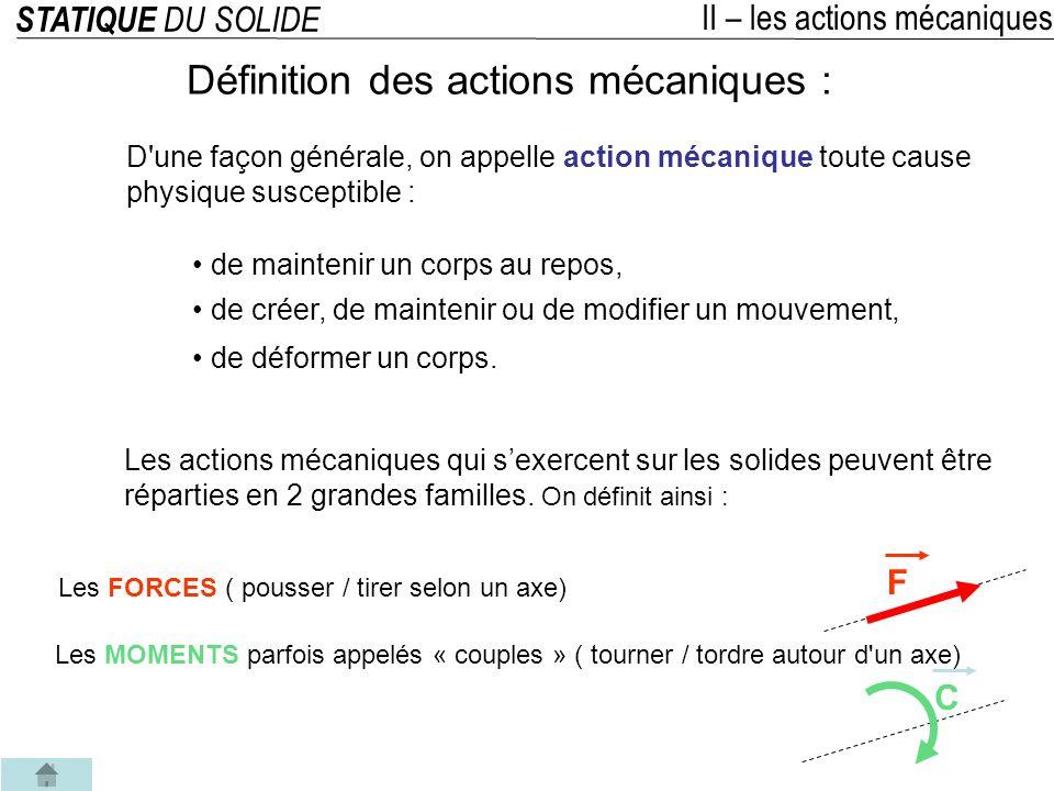STATIQUE DU SOLIDE II – les actions mécaniques 1°/ Les FORCES ( pousser / tirer selon un axe) F Définition des actions mécaniques : Quelques exemples intuitifs : Que subit la voiture .