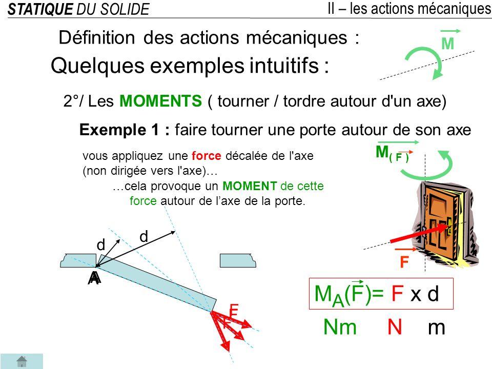 STATIQUE DU SOLIDE II – les actions mécaniques 2°/ Les MOMENTS ( tourner / tordre autour d un axe) Définition des actions mécaniques : Quelques exemples intuitifs : Exemple 3 : couple Un ensemble de forces dont la somme vectorielle est nulle, génère une action mécanique de rotation appelée couple.