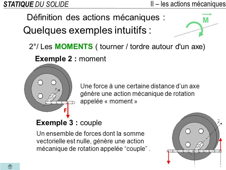 STATIQUE DU SOLIDE III – Isolement et équilibre dun solide Actions mutuelles Les actions mécaniques dans une liaison peuvent sexprimer de 2 façons suivant que lon isole lun ou lautre des 2 solides.