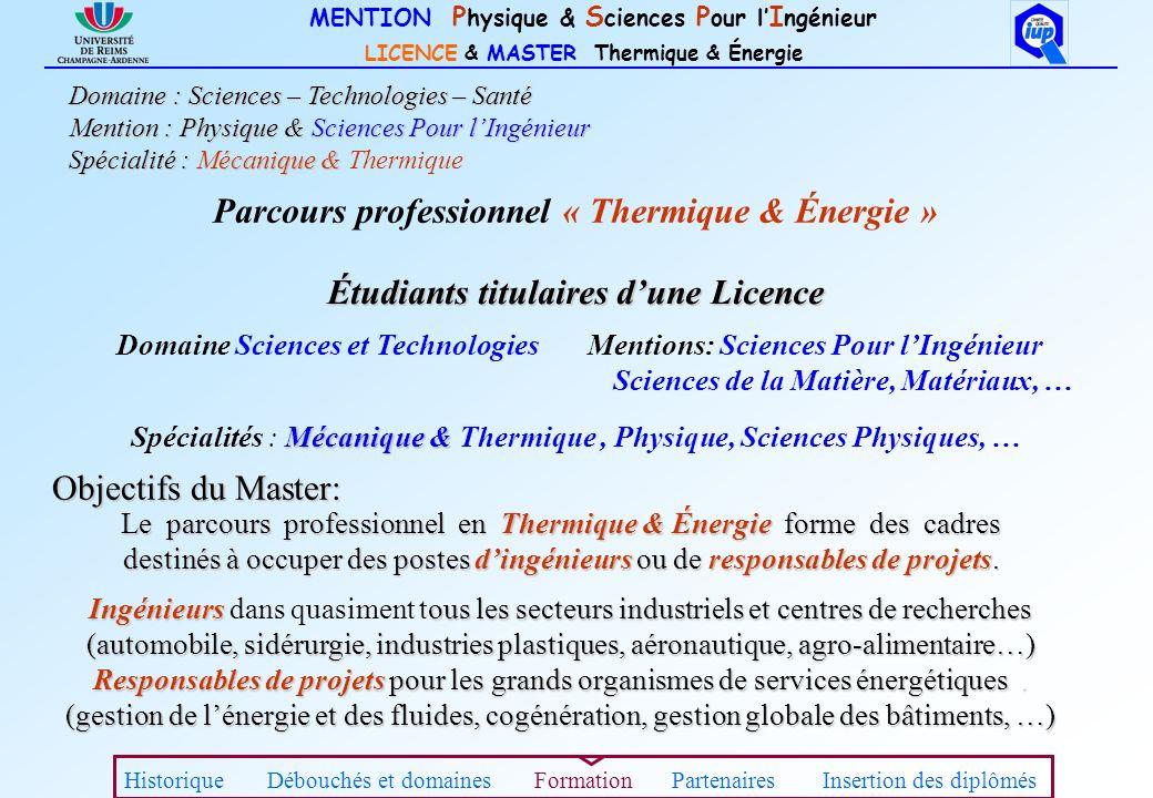 MENTION P hysique & S ciences P our l I ngénieur LICENCE & MASTER Thermique & Énergie Étudiants titulaires dune Licence Domaine Sciences et Technologi