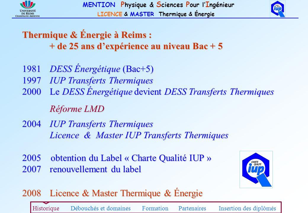 MENTION P hysique & S ciences P our l I ngénieur LICENCE & MASTER Thermique & Énergie Thermique & Énergie à Reims : + de 25 ans dexpérience au niveau