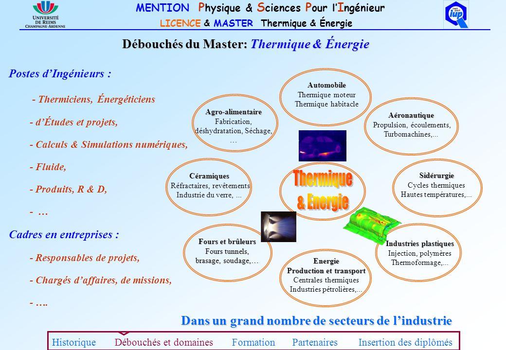 MENTION P hysique & S ciences P our l I ngénieur LICENCE & MASTER Thermique & Énergie Industries plastiques Injection, polymères Thermoformage,... Aér