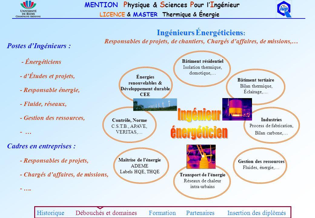 MENTION P hysique & S ciences P our l I ngénieur LICENCE & MASTER Thermique & Énergie Ingénieurs nergéticiens : Ingénieurs Énergéticiens : Responsable