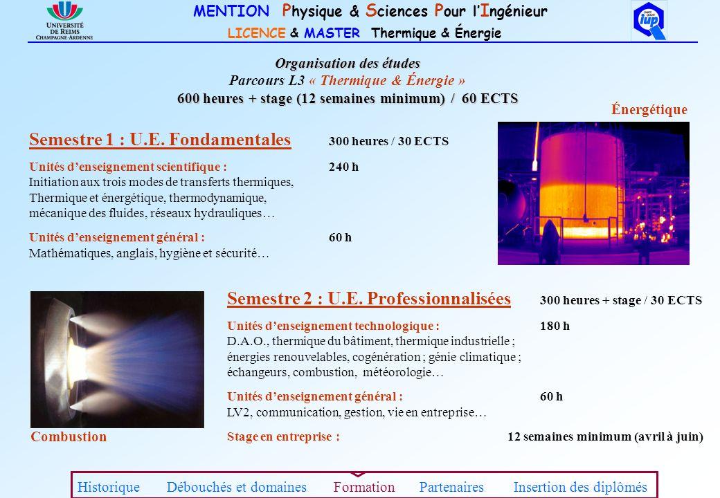 MENTION P hysique & S ciences P our l I ngénieur LICENCE & MASTER Thermique & Énergie Semestre 1 : U.E. Fondamentales 300 heures / 30 ECTS Unités dens