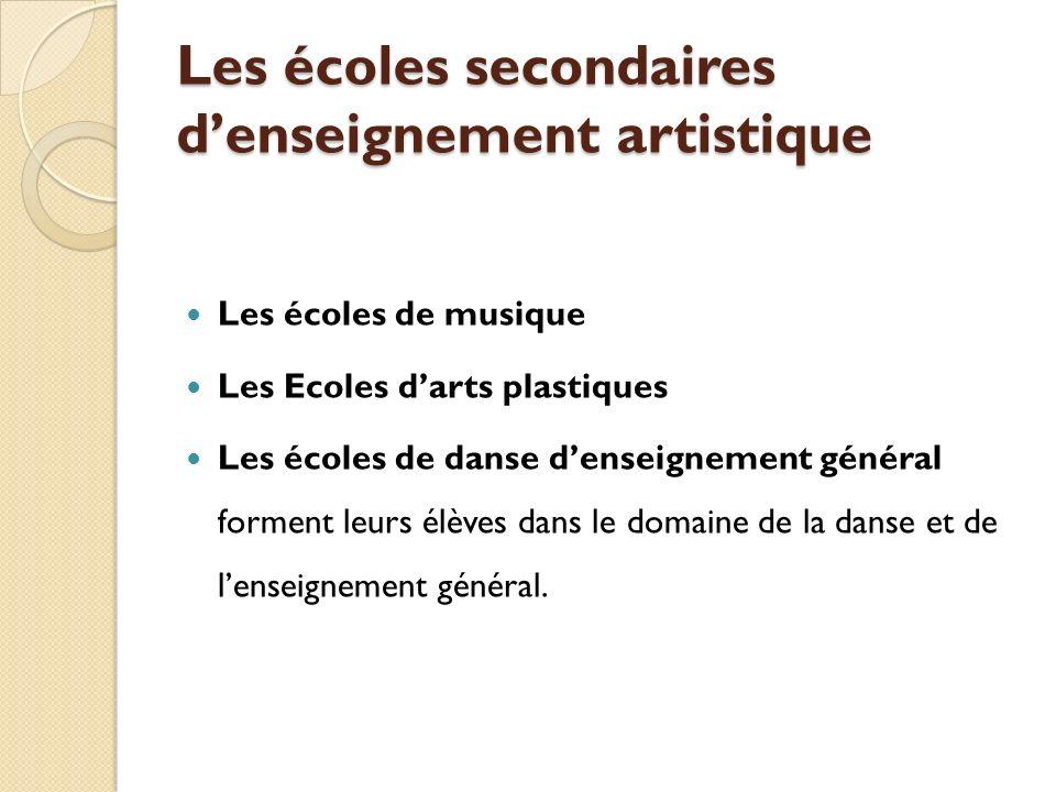 Les écoles secondaires denseignement artistique Les écoles de musique Les Ecoles darts plastiques Les écoles de danse denseignement général forment leurs élèves dans le domaine de la danse et de lenseignement général.