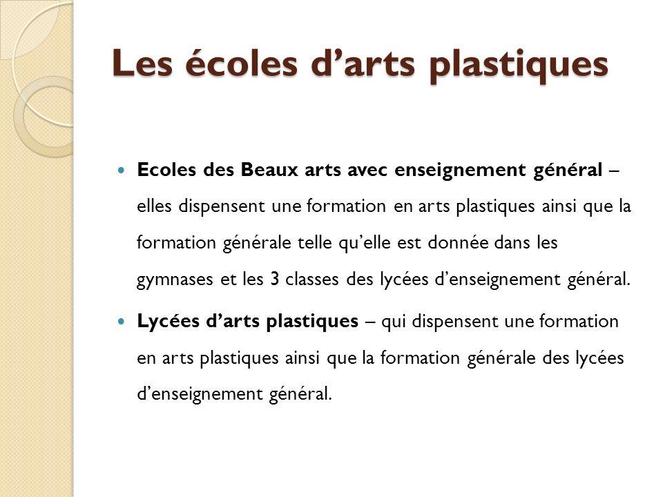 Les écoles darts plastiques Ecoles des Beaux arts avec enseignement général – elles dispensent une formation en arts plastiques ainsi que la formation générale telle quelle est donnée dans les gymnases et les 3 classes des lycées denseignement général.