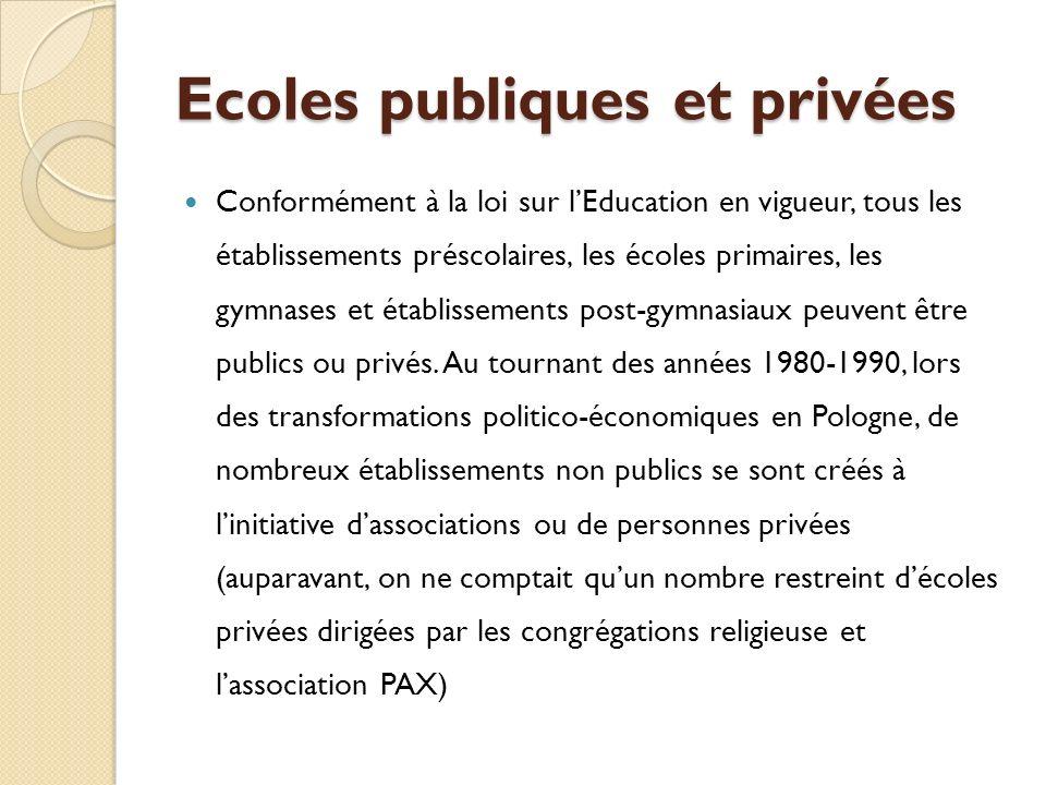 Ecoles publiques et privées Conformément à la loi sur lEducation en vigueur, tous les établissements préscolaires, les écoles primaires, les gymnases et établissements post-gymnasiaux peuvent être publics ou privés.