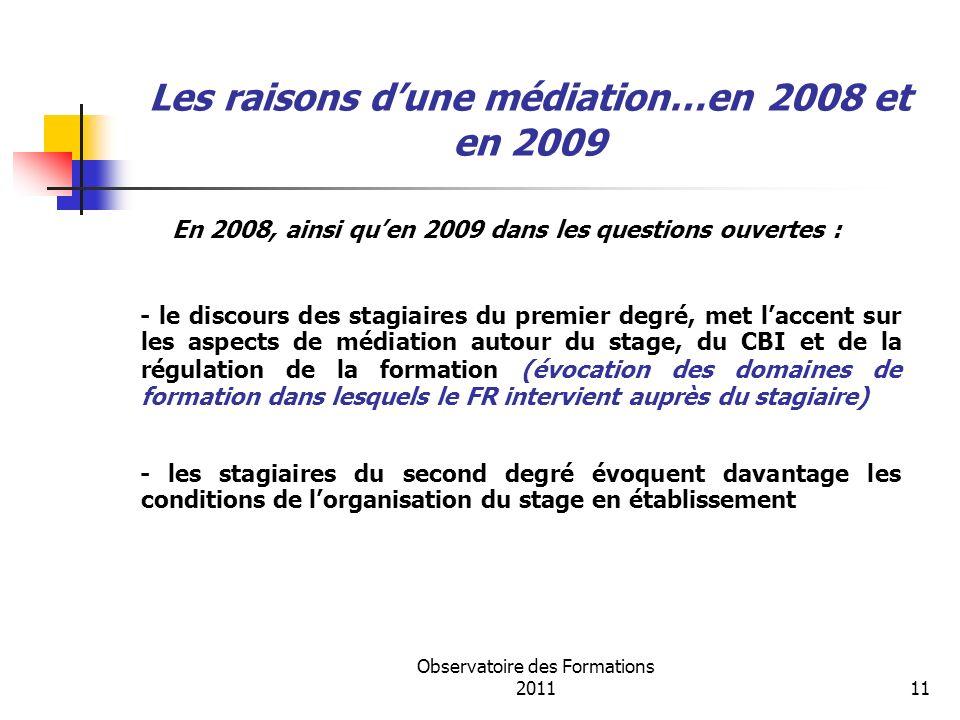 Observatoire des Formations 201111 Les raisons dune médiation…en 2008 et en 2009 En 2008, ainsi quen 2009 dans les questions ouvertes : - le discours