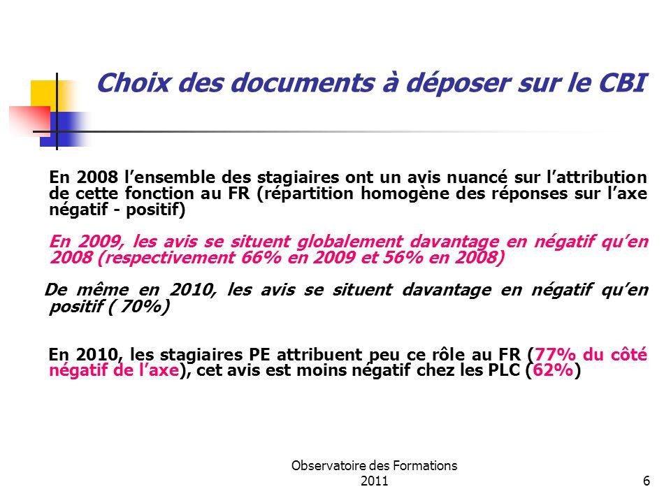 Observatoire des Formations 20116 Choix des documents à déposer sur le CBI En 2008 lensemble des stagiaires ont un avis nuancé sur lattribution de cet