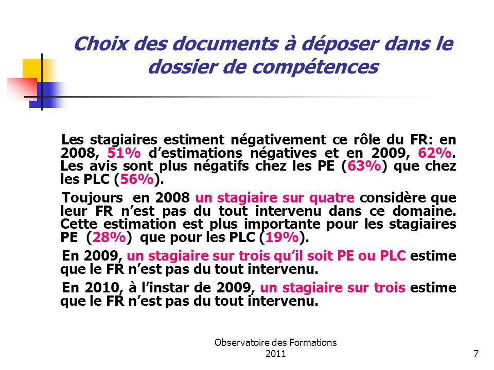 Observatoire des Formations 20118 Analyse de la pratique professionnelle Une estimation très positive se dégage sur le rôle du FR pour cette compétence de la part des stagiaires (86% en 2008,80% en 2009 et 78% en 2010).