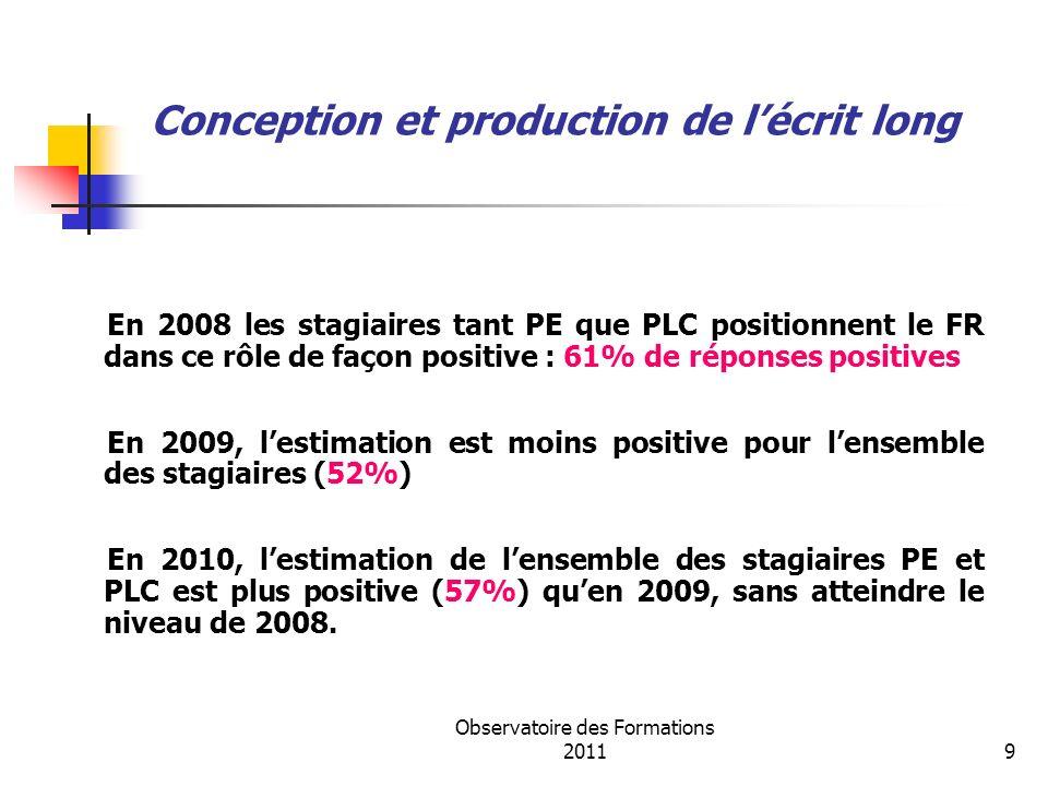 Observatoire des Formations 201110 Un rôle de médiateur En 2008 et 2009, le rôle dinterlocuteur auprès des professeurs tuteurs pour les PLC et des maîtres formateurs pour les PE est repéré (52% des interventions).