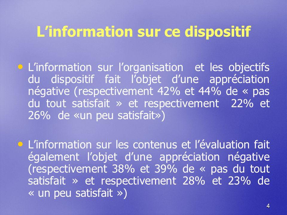 4 Linformation sur ce dispositif Linformation sur lorganisation et les objectifs du dispositif fait lobjet dune appréciation négative (respectivement 42% et 44% de « pas du tout satisfait » et respectivement 22% et 26% de «un peu satisfait») Linformation sur les contenus et lévaluation fait également lobjet dune appréciation négative (respectivement 38% et 39% de « pas du tout satisfait » et respectivement 28% et 23% de « un peu satisfait »)