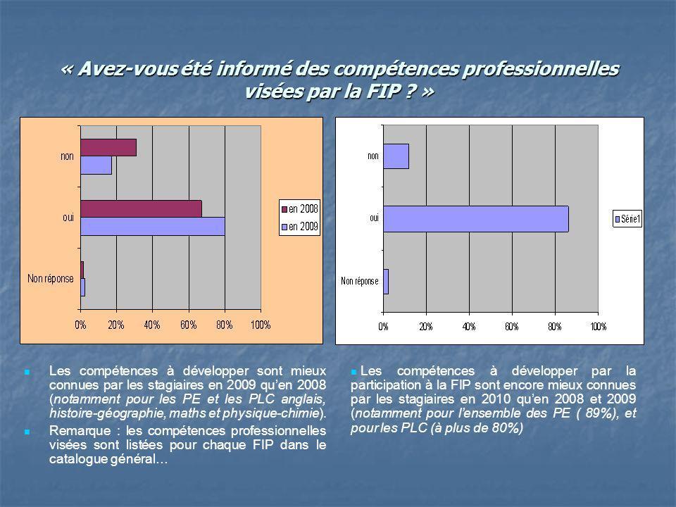 « Avez-vous été informé des compétences professionnelles visées par la FIP .