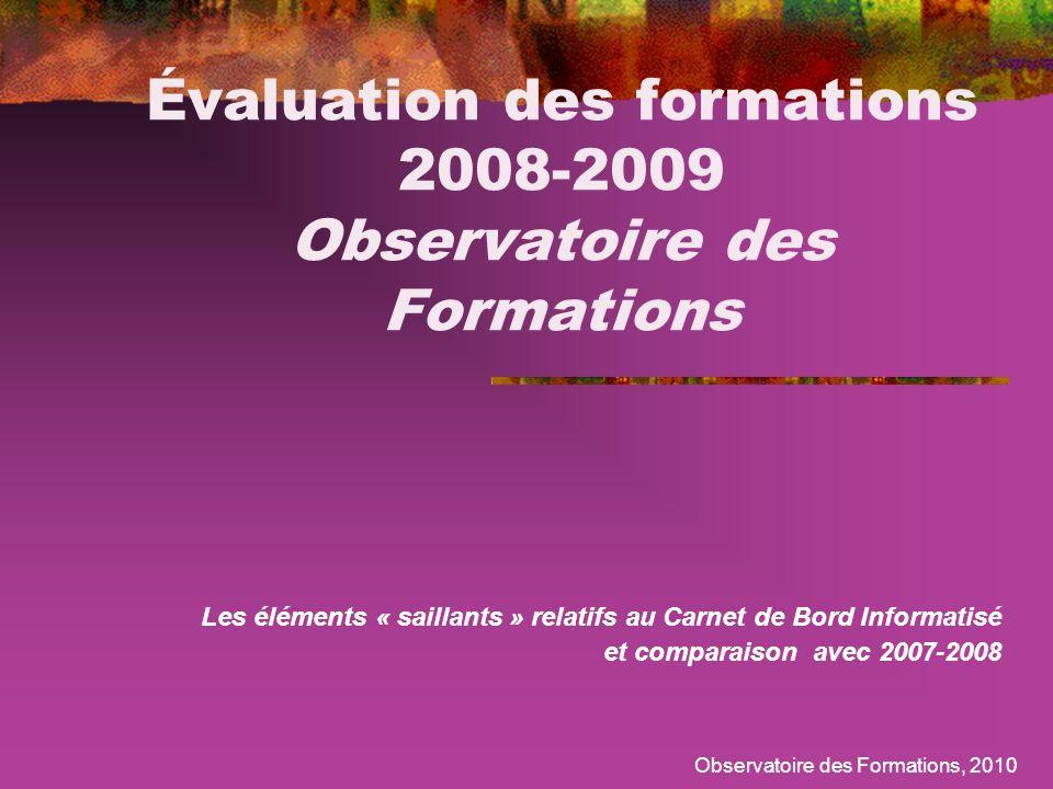 Observatoire des Formations, 2010 Évaluation des formations 2008-2009 Observatoire des Formations Les éléments « saillants » relatifs au Carnet de Bord Informatisé et comparaison avec 2007-2008