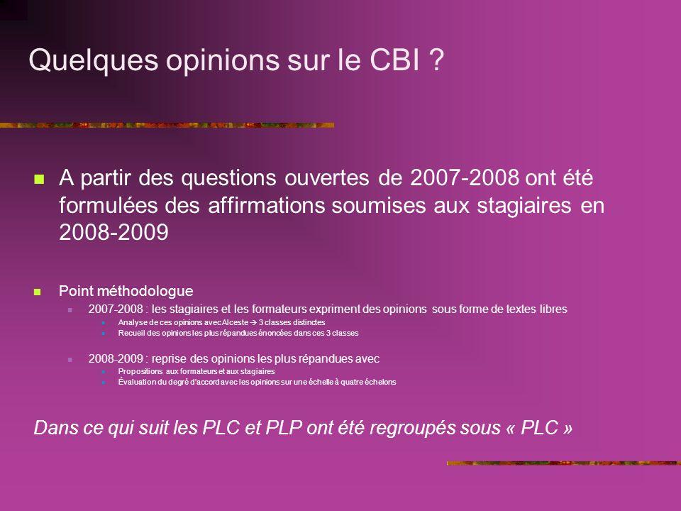 Quelques opinions sur le CBI .