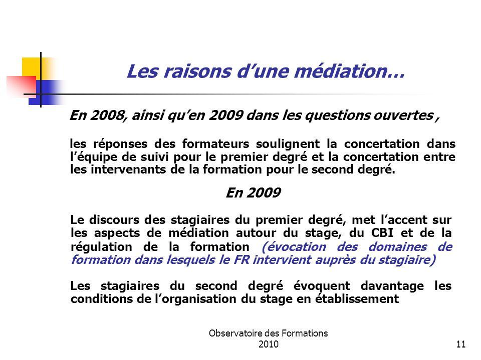 Observatoire des Formations 201011 Les raisons dune médiation… En 2008, ainsi quen 2009 dans les questions ouvertes, les réponses des formateurs soulignent la concertation dans léquipe de suivi pour le premier degré et la concertation entre les intervenants de la formation pour le second degré.