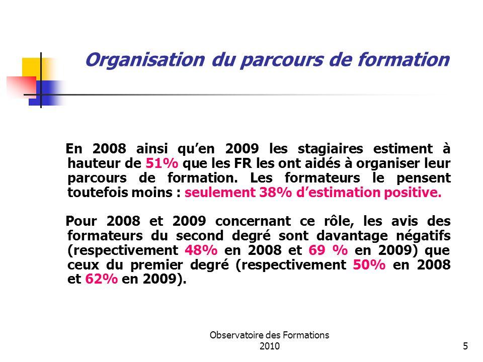 Observatoire des Formations 20105 Organisation du parcours de formation En 2008 ainsi quen 2009 les stagiaires estiment à hauteur de 51% que les FR les ont aidés à organiser leur parcours de formation.