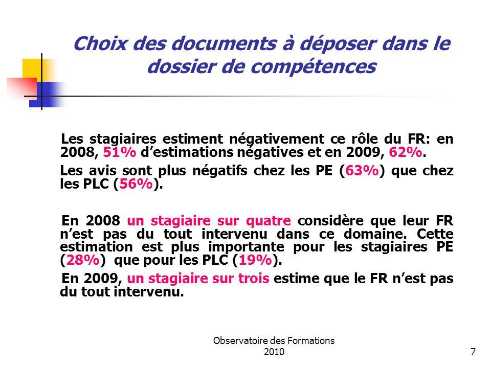 Observatoire des Formations 20107 Les stagiaires estiment négativement ce rôle du FR: en 2008, 51% destimations négatives et en 2009, 62%.