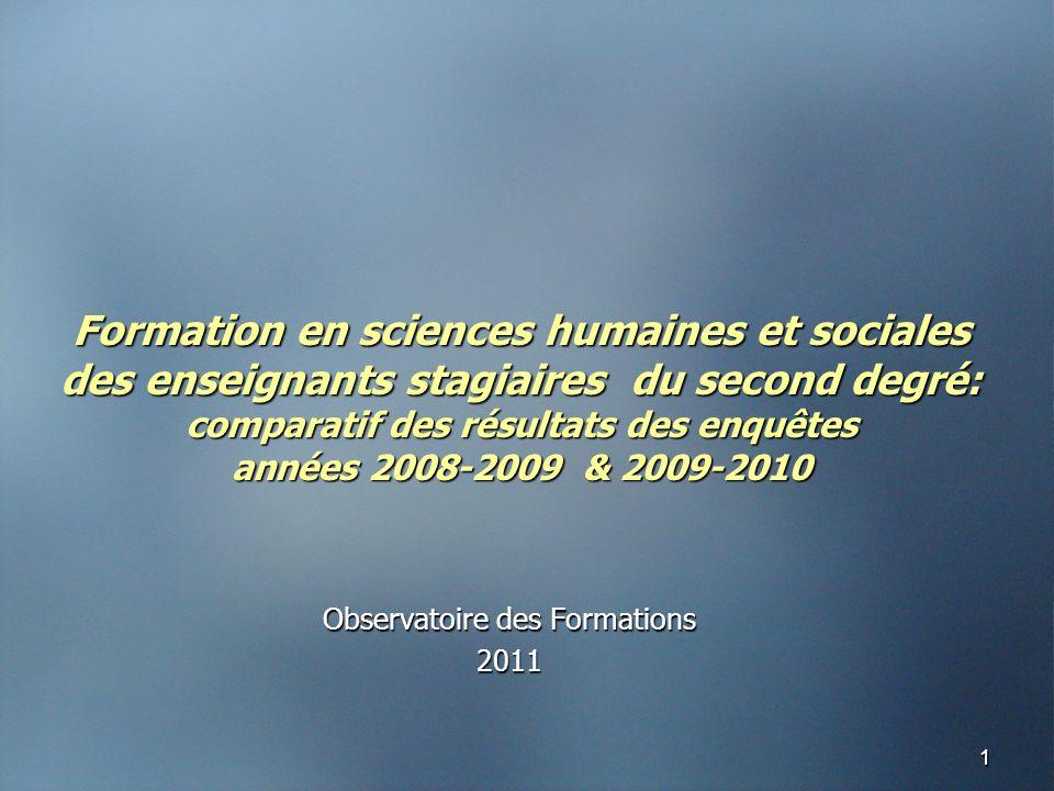 11 Formation en sciences humaines et sociales des enseignants stagiaires du second degré: comparatif des résultats des enquêtes années 2008-2009 & 2009-2010 Observatoire des Formations 2011