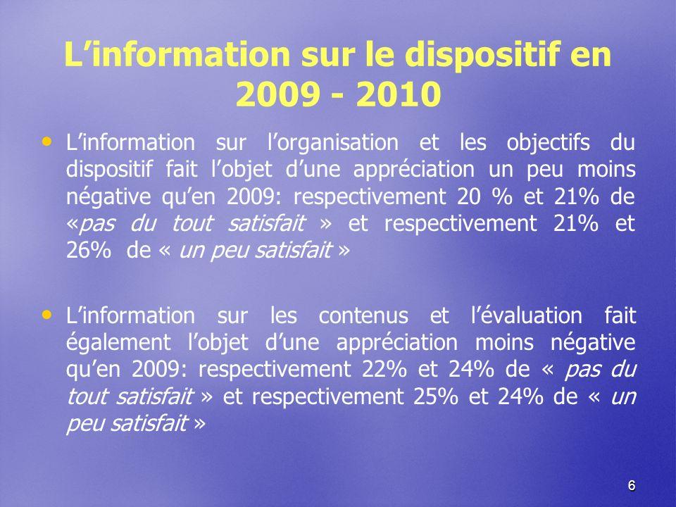 6 Linformation sur le dispositif en 2009 - 2010 Linformation sur lorganisation et les objectifs du dispositif fait lobjet dune appréciation un peu moins négative quen 2009: respectivement 20 % et 21% de «pas du tout satisfait » et respectivement 21% et 26% de « un peu satisfait » Linformation sur les contenus et lévaluation fait également lobjet dune appréciation moins négative quen 2009: respectivement 22% et 24% de « pas du tout satisfait » et respectivement 25% et 24% de « un peu satisfait »