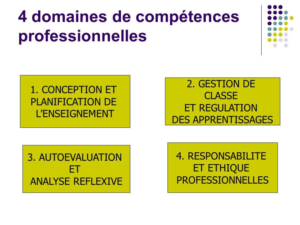 4 domaines de compétences professionnelles 1. CONCEPTION ET PLANIFICATION DE LENSEIGNEMENT 2.