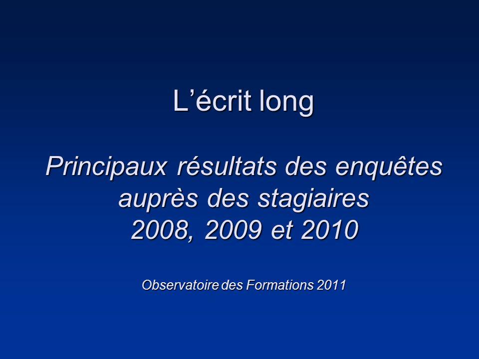 Lécrit long Principaux résultats des enquêtes auprès des stagiaires 2008, 2009 et 2010 Observatoire des Formations 2011