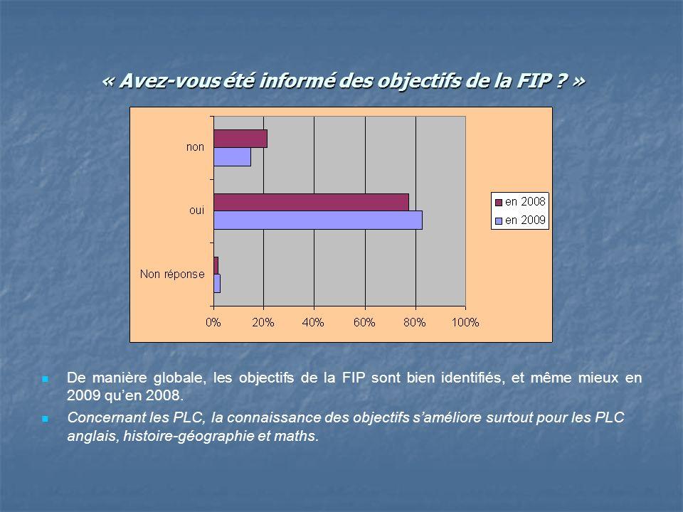 « Avez-vous été informé des objectifs de la FIP .