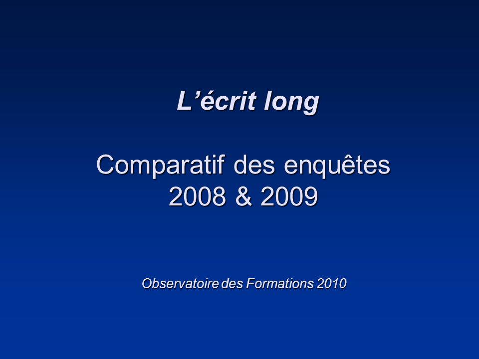 Lécrit long Comparatif des enquêtes 2008 & 2009 Observatoire des Formations 2010 Lécrit long Comparatif des enquêtes 2008 & 2009 Observatoire des Form