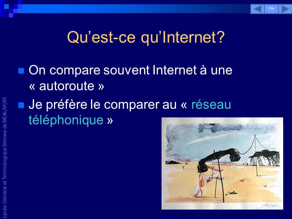 Lycée Général et Technologique Simone de BEAUVOIR Comme pour le téléphone… Chaque abonné est muni dun numéro unique permettant de le joindre.