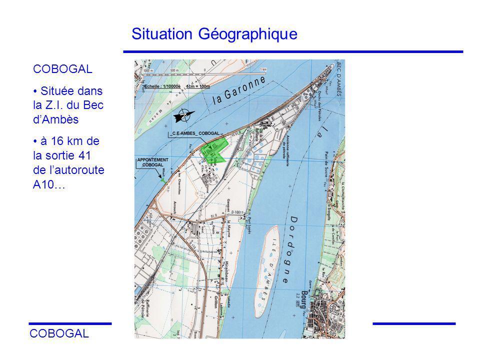 COBOGAL 3 Situation sur la commune dAmbès Sur plan: disposition des principales zones importantes de l environnement de l industrie COBOGAL COFRABLACK EKA DPA Côté Garonne Dans une zone à faible densité de population