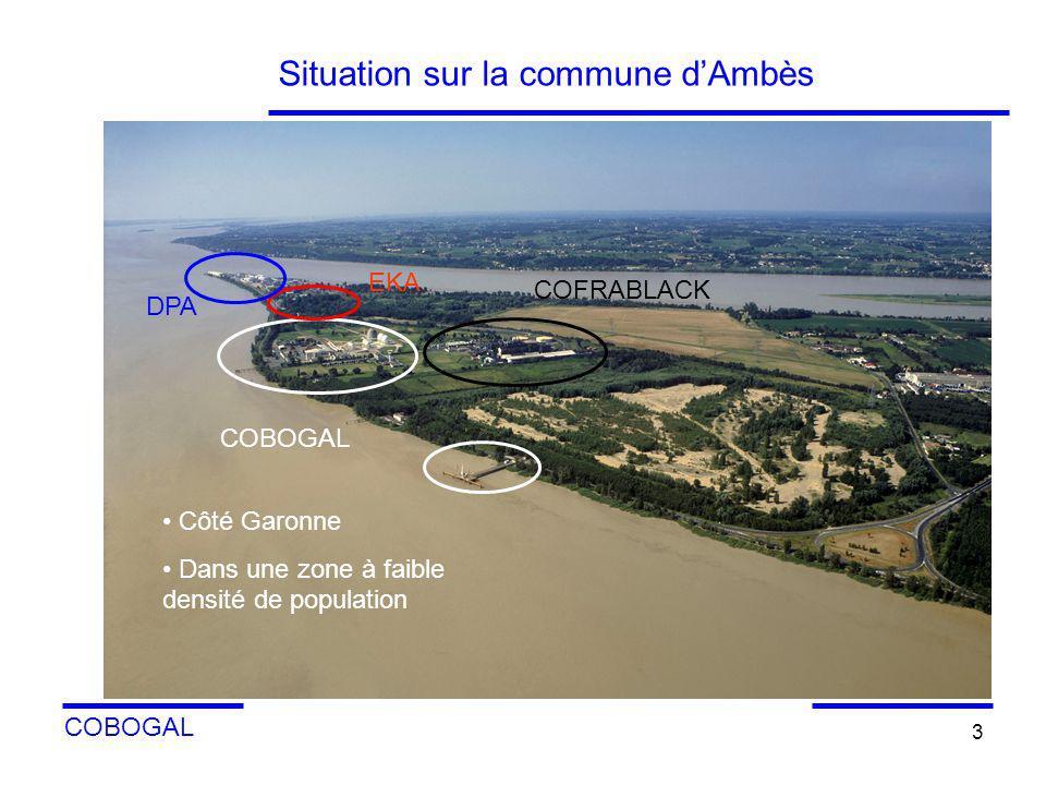 COBOGAL 3 Situation sur la commune dAmbès Sur plan: disposition des principales zones importantes de l environnement de l industrie COBOGAL COFRABLACK