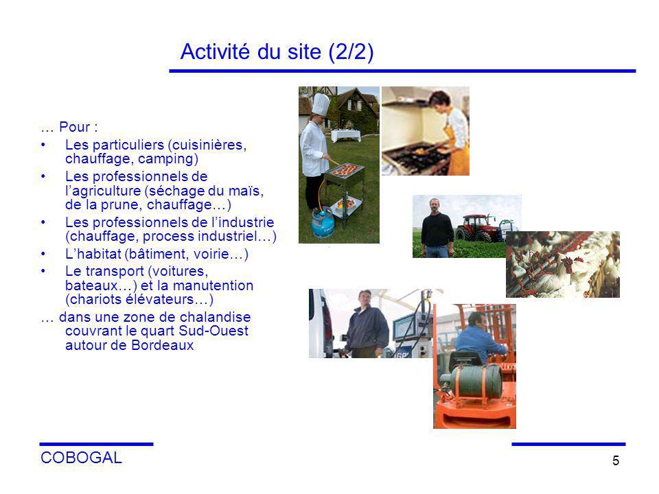 COBOGAL 5 Activité du site (2/2) … Pour : Les particuliers (cuisinières, chauffage, camping) Les professionnels de lagriculture (séchage du maïs, de l
