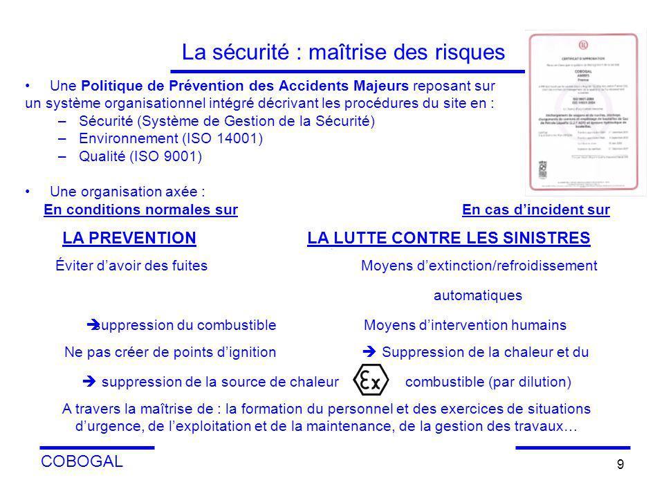 COBOGAL 9 La sécurité : maîtrise des risques Une Politique de Prévention des Accidents Majeurs reposant sur un système organisationnel intégré décriva