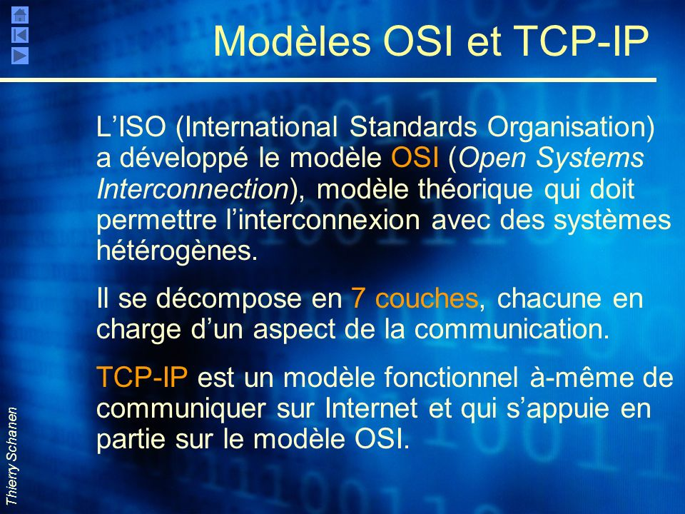 Thierry Schanen Modèles OSI et TCP-IP LISO (International Standards Organisation) a développé le modèle OSI (Open Systems Interconnection), modèle thé