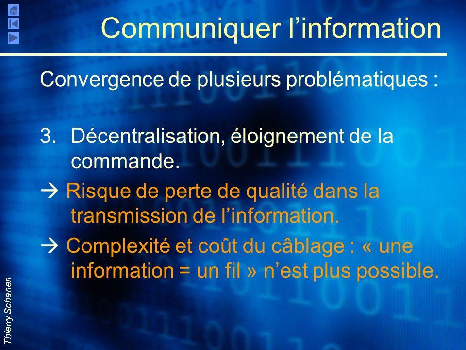Thierry Schanen Communiquer linformation 3.Décentralisation, éloignement de la commande. Risque de perte de qualité dans la transmission de linformati