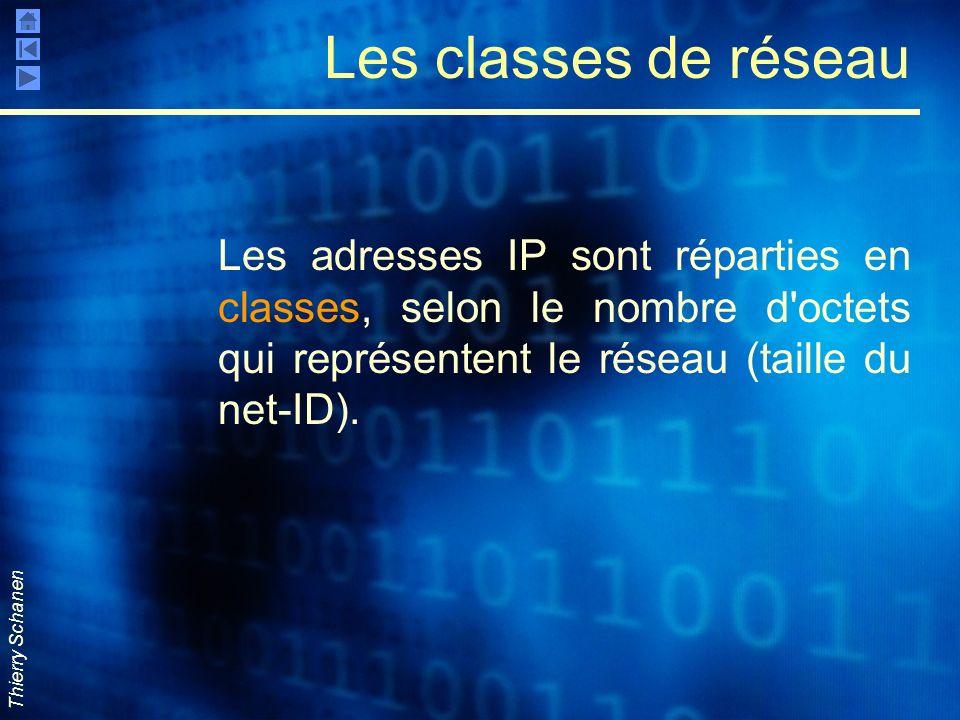 Thierry Schanen Les classes de réseau Les adresses IP sont réparties en classes, selon le nombre d'octets qui représentent le réseau (taille du net-ID
