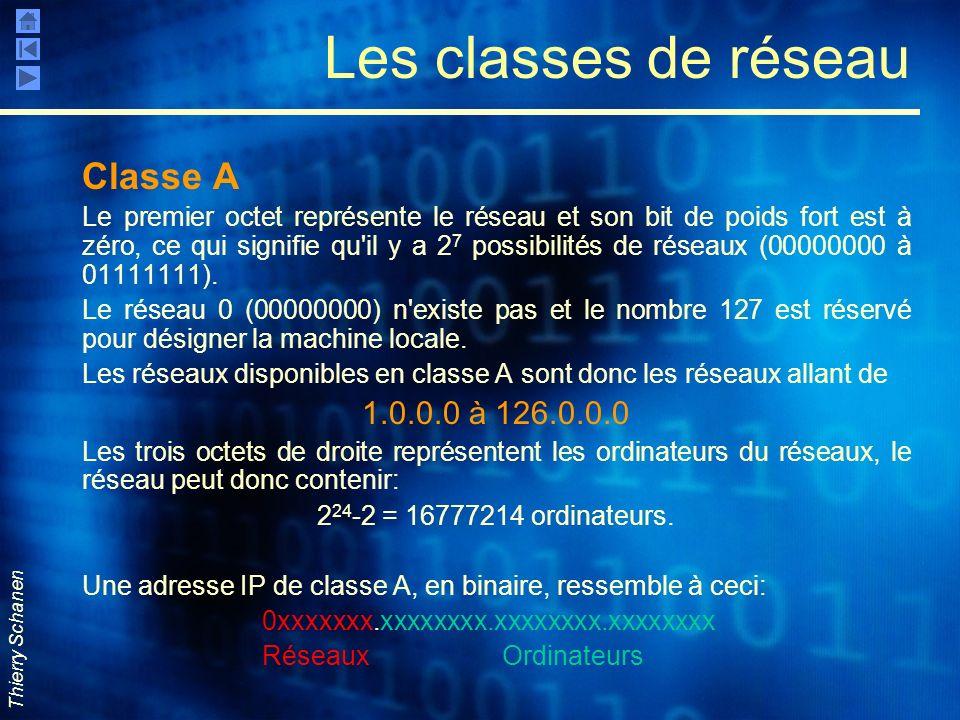 Thierry Schanen Les classes de réseau Classe A Le premier octet représente le réseau et son bit de poids fort est à zéro, ce qui signifie qu'il y a 2