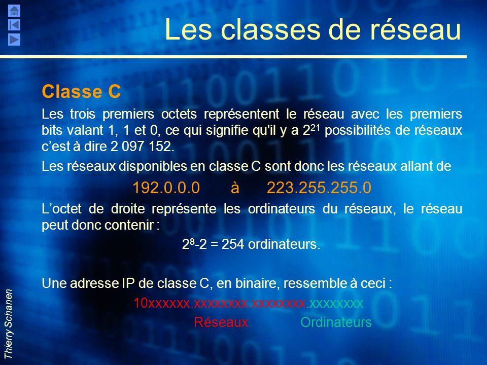 Thierry Schanen Les classes de réseau Classe C Les trois premiers octets représentent le réseau avec les premiers bits valant 1, 1 et 0, ce qui signif