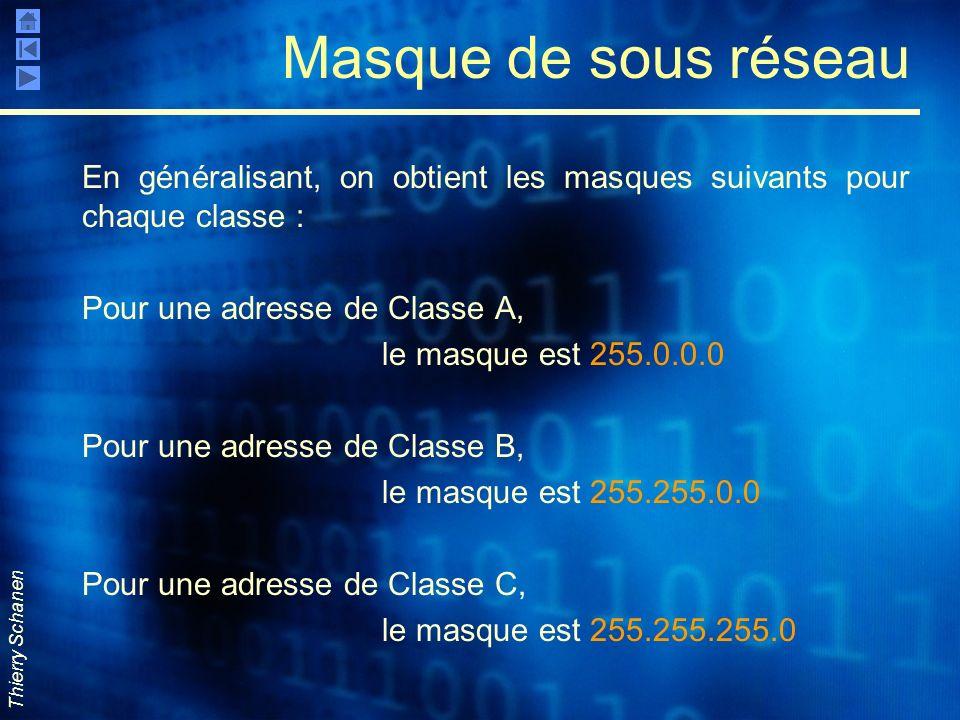 Thierry Schanen Masque de sous réseau En généralisant, on obtient les masques suivants pour chaque classe : Pour une adresse de Classe A, le masque es