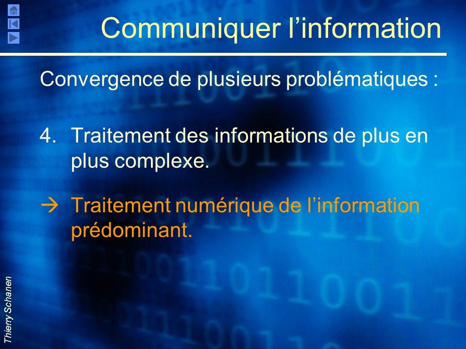 Thierry Schanen Communiquer linformation 4.Traitement des informations de plus en plus complexe. Traitement numérique de linformation prédominant. Con