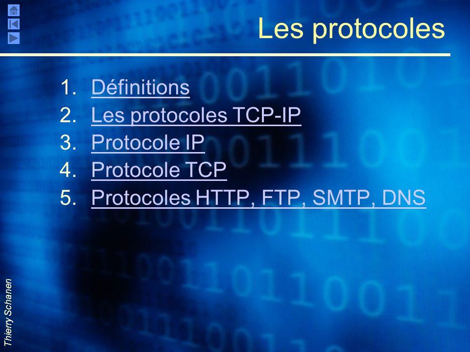 Thierry Schanen Les protocoles 1.DéfinitionsDéfinitions 2.Les protocoles TCP-IPLes protocoles TCP-IP 3.Protocole IPProtocole IP 4.Protocole TCPProtoco