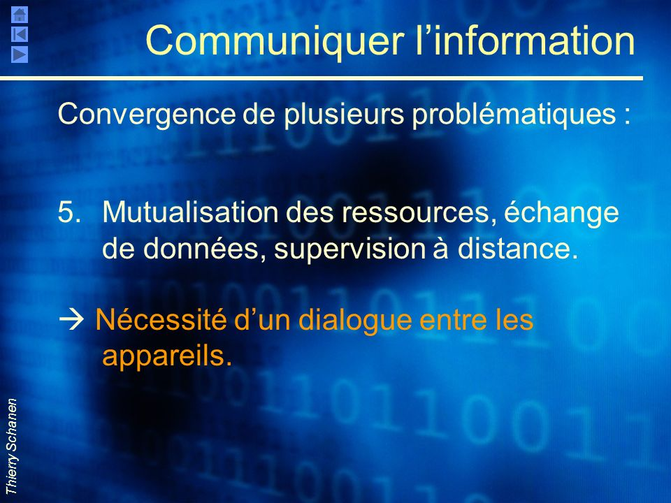 Thierry Schanen Communiquer linformation 5.Mutualisation des ressources, échange de données, supervision à distance. Nécessité dun dialogue entre les