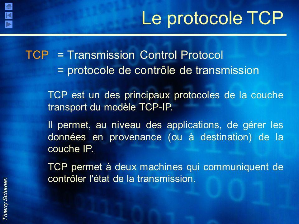 Thierry Schanen Le protocole TCP TCP = Transmission Control Protocol = protocole de contrôle de transmission TCP est un des principaux protocoles de l