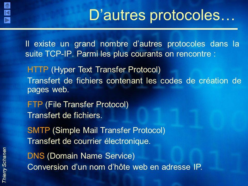 Thierry Schanen Dautres protocoles… Il existe un grand nombre dautres protocoles dans la suite TCP-IP. Parmi les plus courants on rencontre : HTTP (Hy